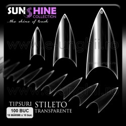 Tipsuri Stiletto Transparente - 100buc