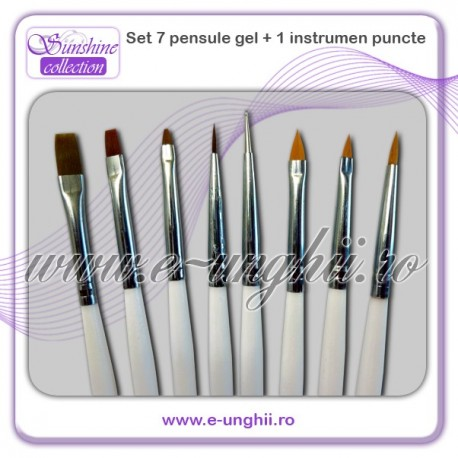 Set 7 pensule gel si instrument pucte