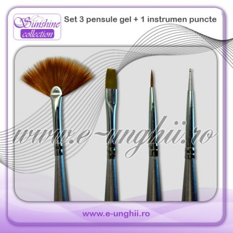 Set 3 pensule gel si instrument pucte
