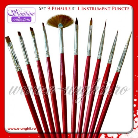Set 9 pensule gel si instrument puncte