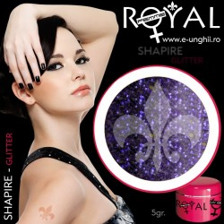 Gel colorat glitter ROYAL - Shapire (geluri unghii glitter Royal Femme)