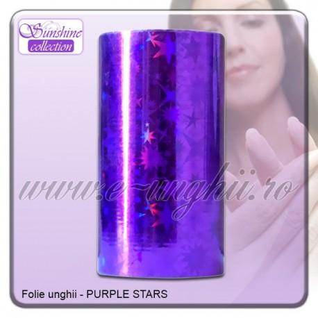 Folie decorativa unghii - Mov Purple Stars