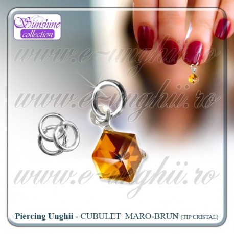 Piercing unghii false - Cristal orange inchis