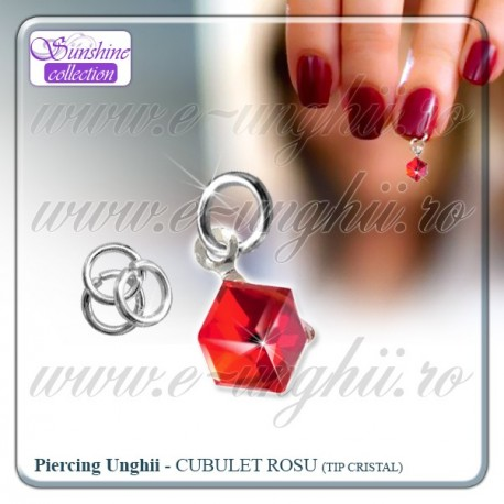 Piercing unghii false - Cristal rosu hot translucid