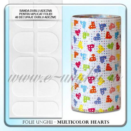 Folie decorativa unghii - Multicolor Hearts