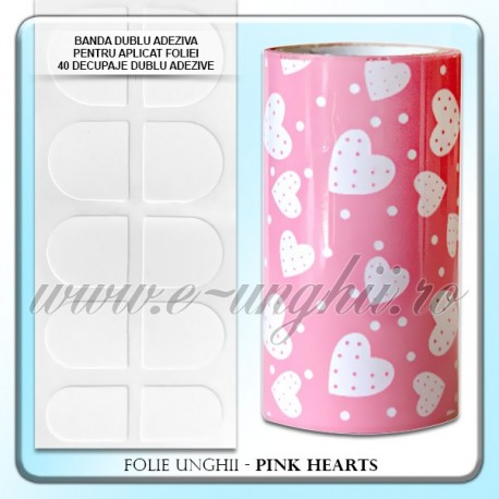 Folie decorativa unghii - Heapy Pink Hearts