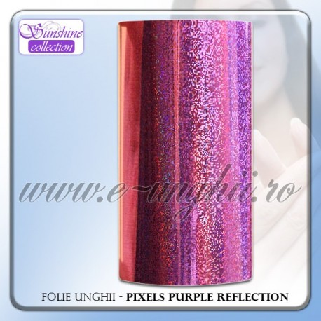 Folie decorativa unghii - PIXELS PURPLE REFLECTION