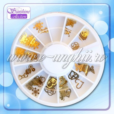 Disc ornamente metalice aurii - Disc Nail Art