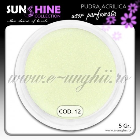 Pudra acrilica color Cod: 12 - Praf acrilic Galben Citron Light