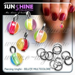 Piercing unghii false - Bilute Multicolore - Set 5 buc.