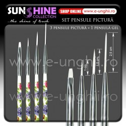 Pensule Pictura Set - 4 buc. (Pensule Nail Art Brush)