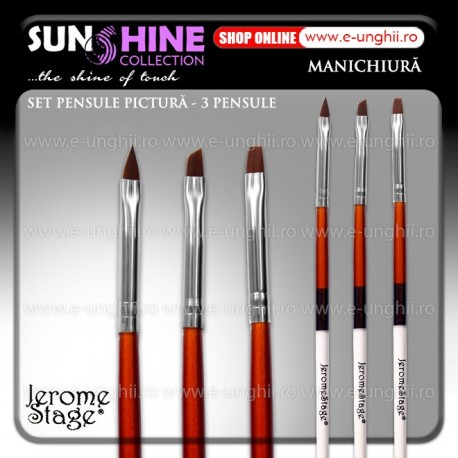 Pensule Pictura Set Jerome Stage - 3 Buc. (Pensule Nail Art Brush)