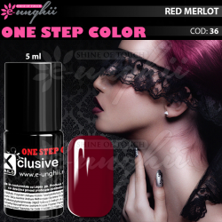 Gel Lac One Step, Exclusive Nails, Cod 36, Oja Semipermanenta One Step, 5ml, Rosu Merlot