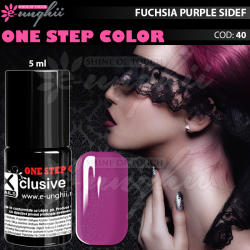 Gel Lac One Step, Exclusive Nails, Cod 40, Oja Semipermanenta One Step, 5ml, Fuchsia Purple Sidef